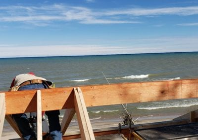Latest project on Lake Michigan, adding second story to existing home.